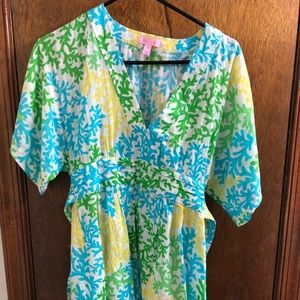 Lilly Pulitzer Coral Colorful Tunic Top Blouse XS
